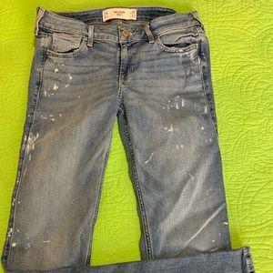 Hollister stretch boot jean paint splatter 7R